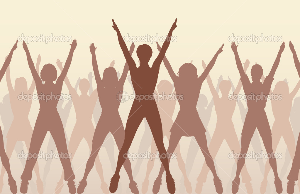 Editable vector illustration of women silhouettes doing aerobic dance exercise together — Stock Vector #6428354
