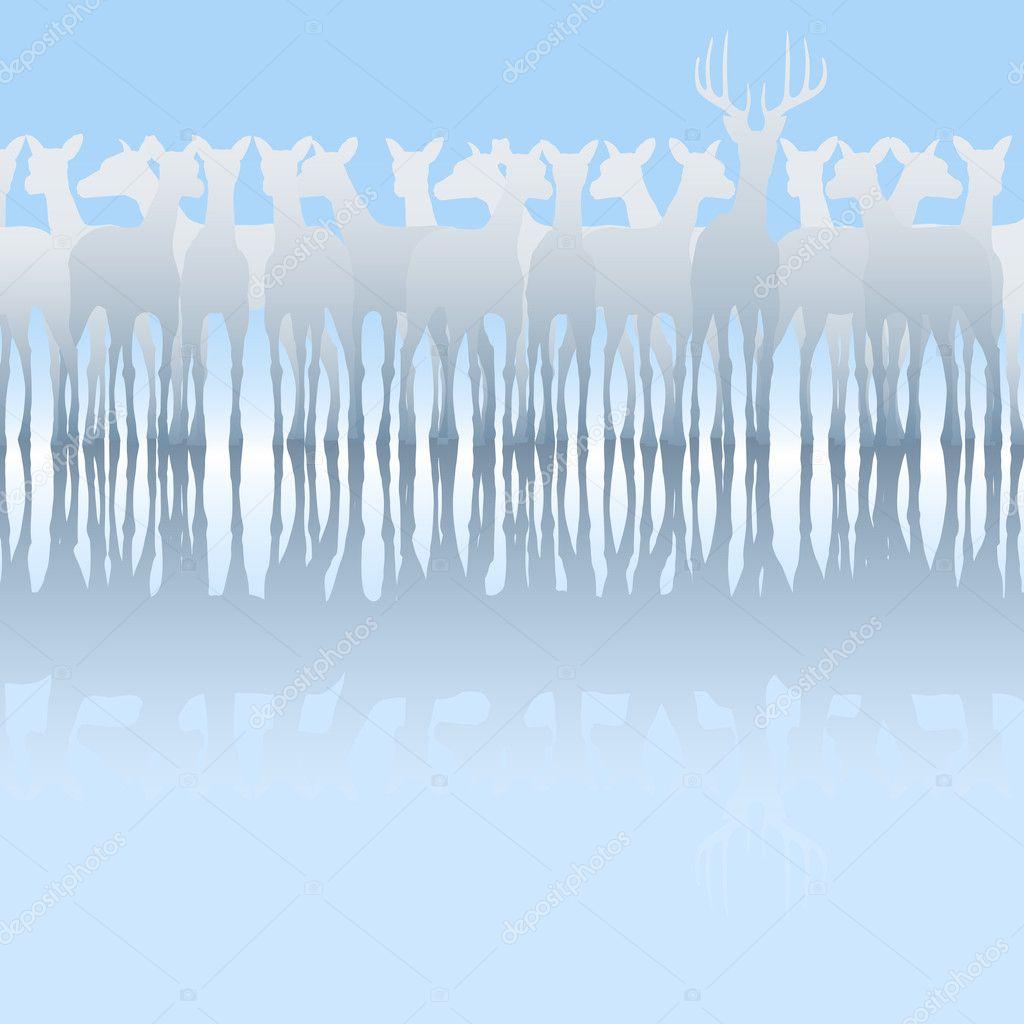 鹿群— 图库矢量图像08
