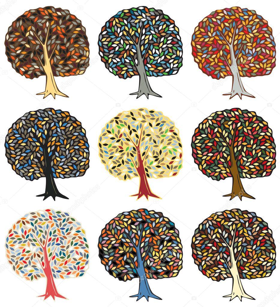 七彩树 — 图库矢量图像08