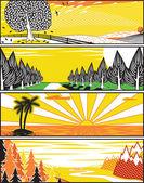 Popart landscape banners — Stock Vector