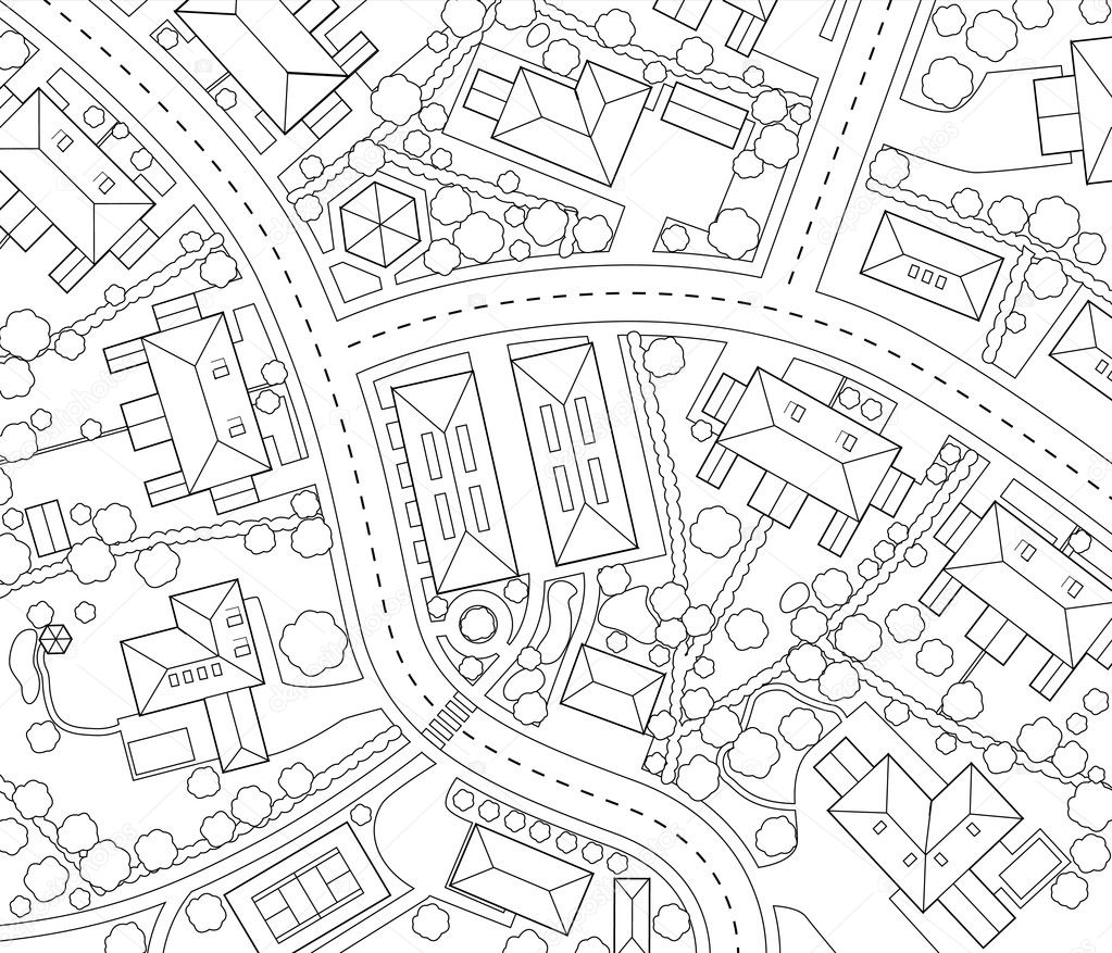 Editable vector outline map of a generic residential area — Stock Vector #6447778