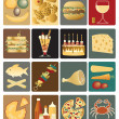 Food icons - Stok Vektör
