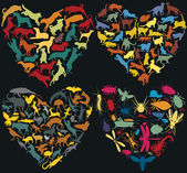 Animal hearts — Stock Vector