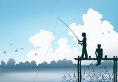 Fishing scene — Stock Vector