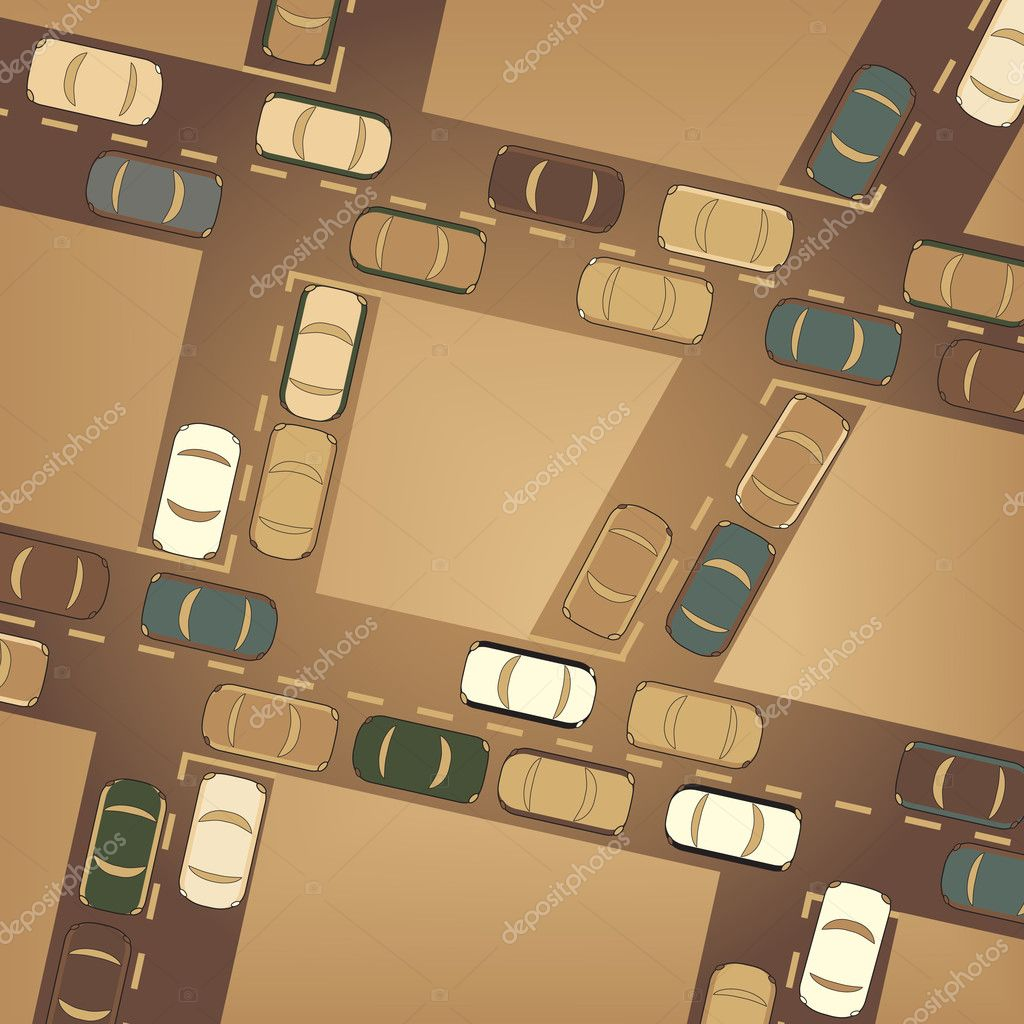 Editable vector illustration of busy car traffic  Stock Vector #6453716