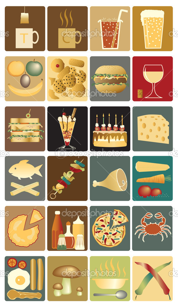 Set of editable vector icons of drinks and snacks  Stock Vector #6459696