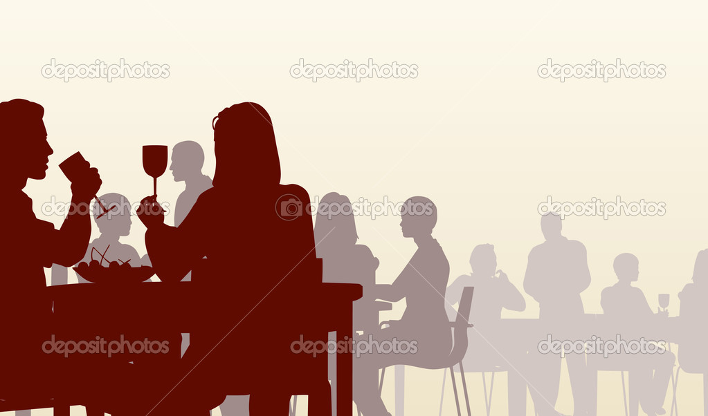 Editable vector silhouette of eating in a restaurant — Stock Vector #6459723
