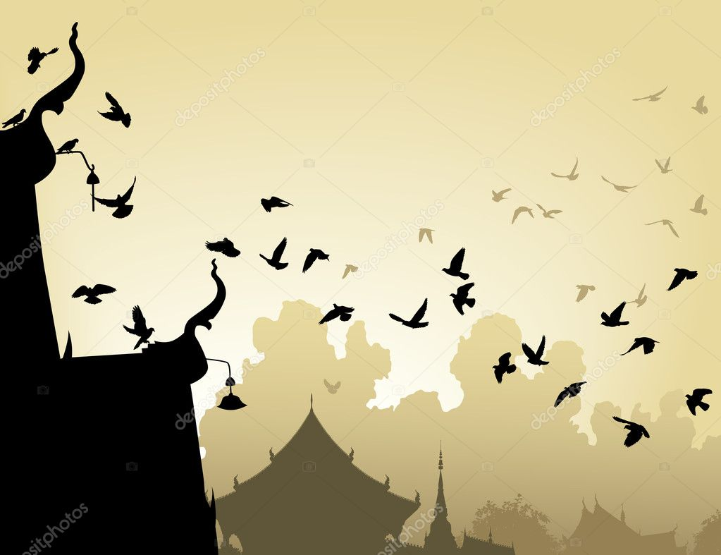 Vector illustration of pigeons flying to a Buddhist temple roof — Stock Vector #6465766