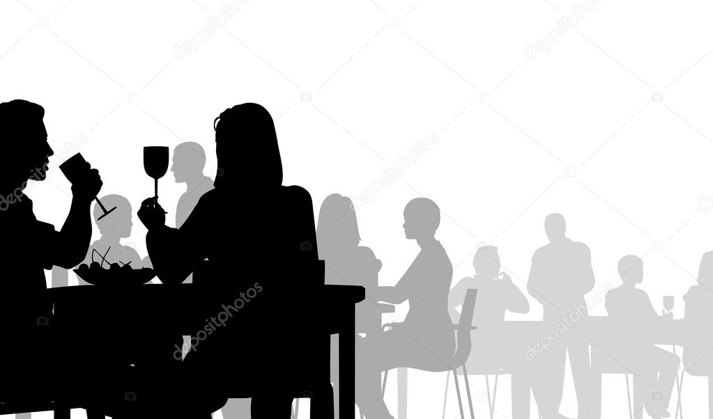 Editable vector silhouette of eating in a restaurant  Stock Vector #6465919