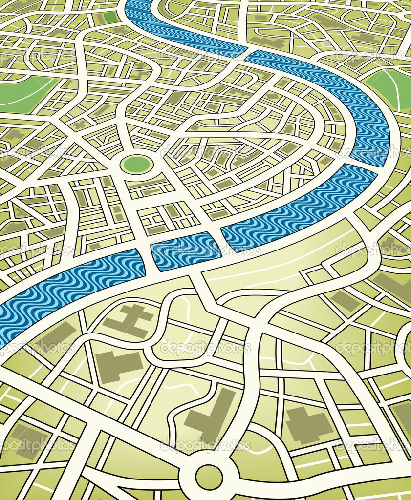 Editable vector illustration of a nameless street map from an angled perspective — Stock Vector #6477852