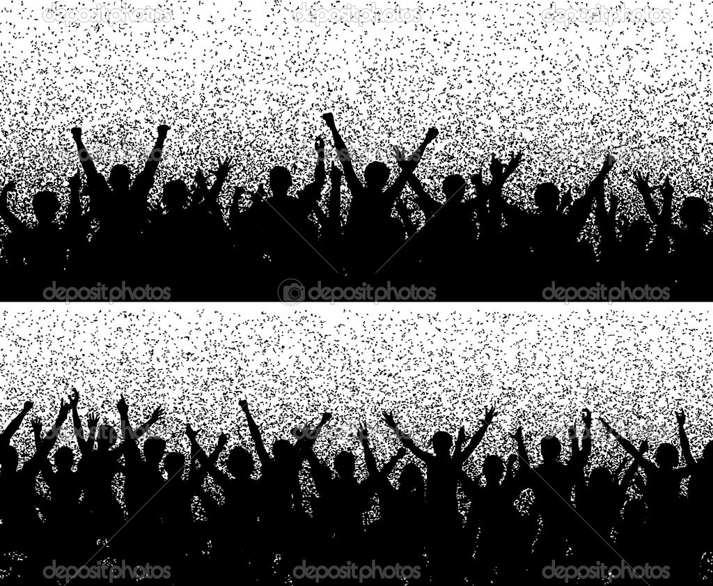 Two editable vector crowd silhouettes with grainy grunge — Stock Vector #6478542