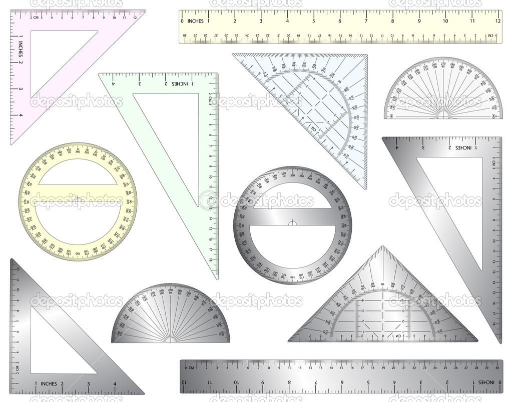 Set of editable vector rulers, set squares and protractors in plastic and metal. Hi-res jpeg file included. — Stock Vector #6491532