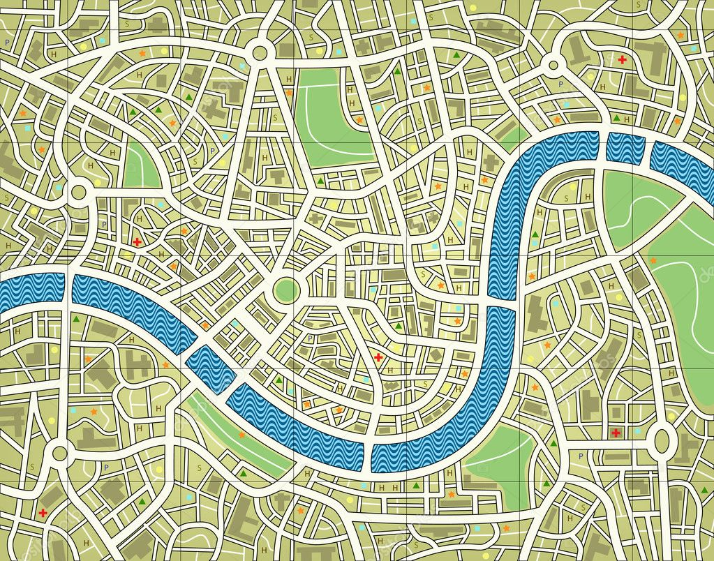 Editable vector illustration of a street map without names — Stock Vector #6496017