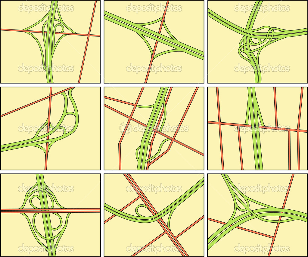 Set of editable vector road intersection illustrations — ベクター素材ストック #6503266