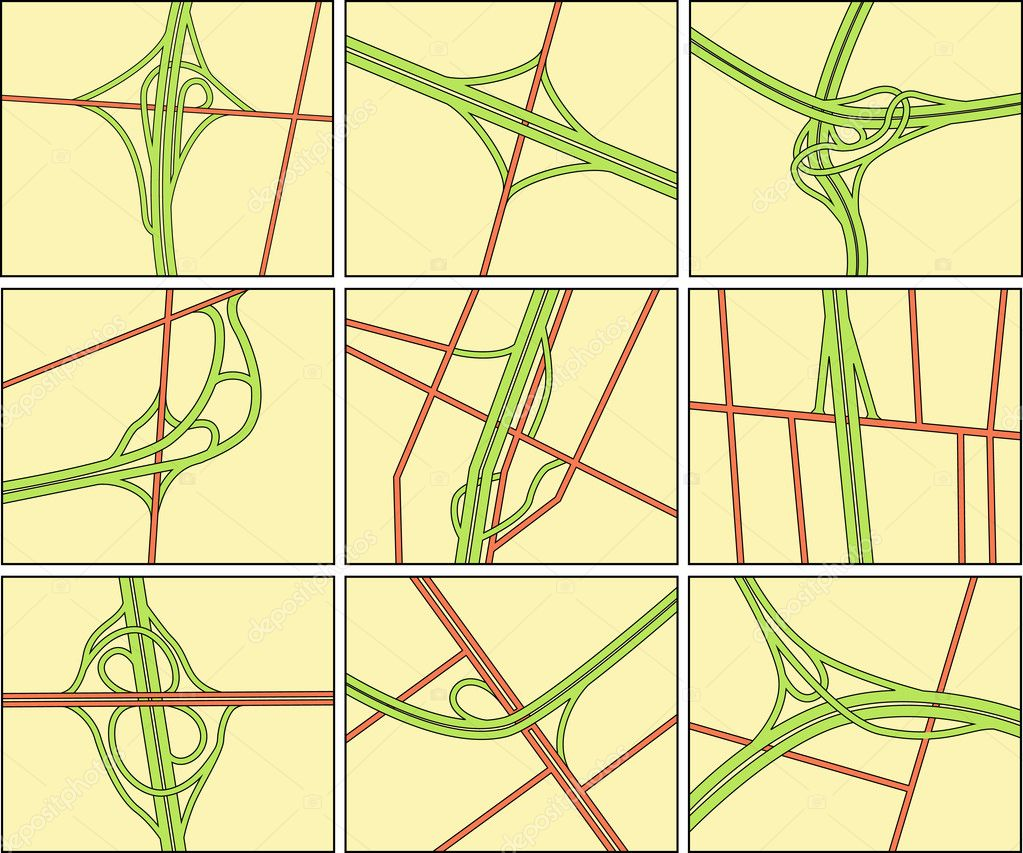 Set of editable vector road intersection illustrations — Векторная иллюстрация #6503266