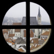 Medival European city through a window - Foto Stock