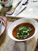 Fresh bowl of Tom Yum Soup — Stock Photo