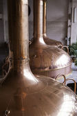 Beer fermenting tanks used in the brewing process — Stock Photo