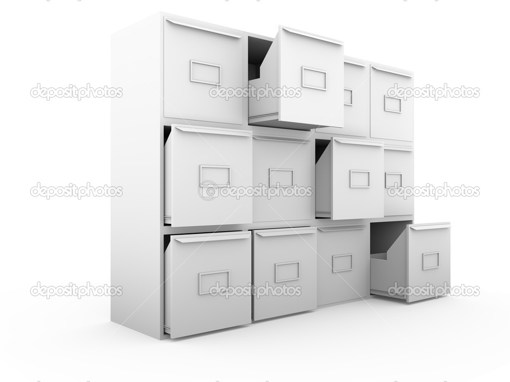Metallic drawers. office furniture for archiving and cataloging information — Stock Photo #6375820