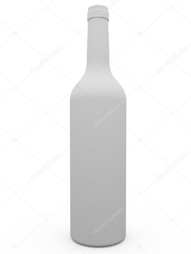 White wine botle over a white bakcground  Stock Photo #6375999