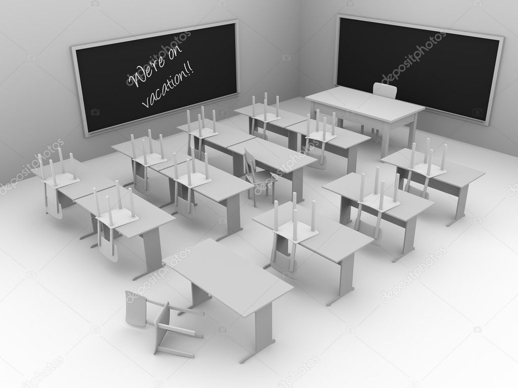 Illustration of an empty classroom. Concept of education. 3d render  Stock Photo #6400917