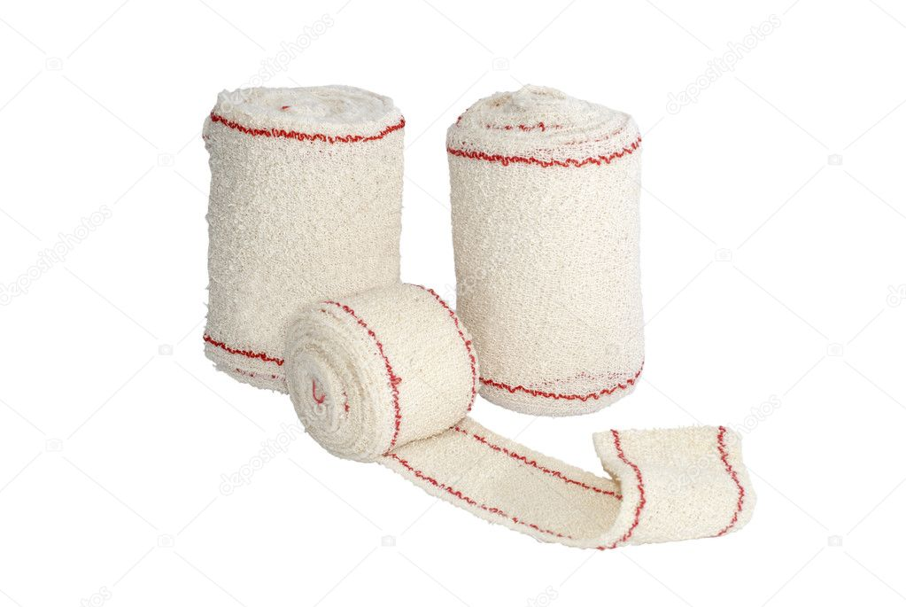 Some rolls of bandage isolated over white. Medical treatment concept — Stock Photo #6425470