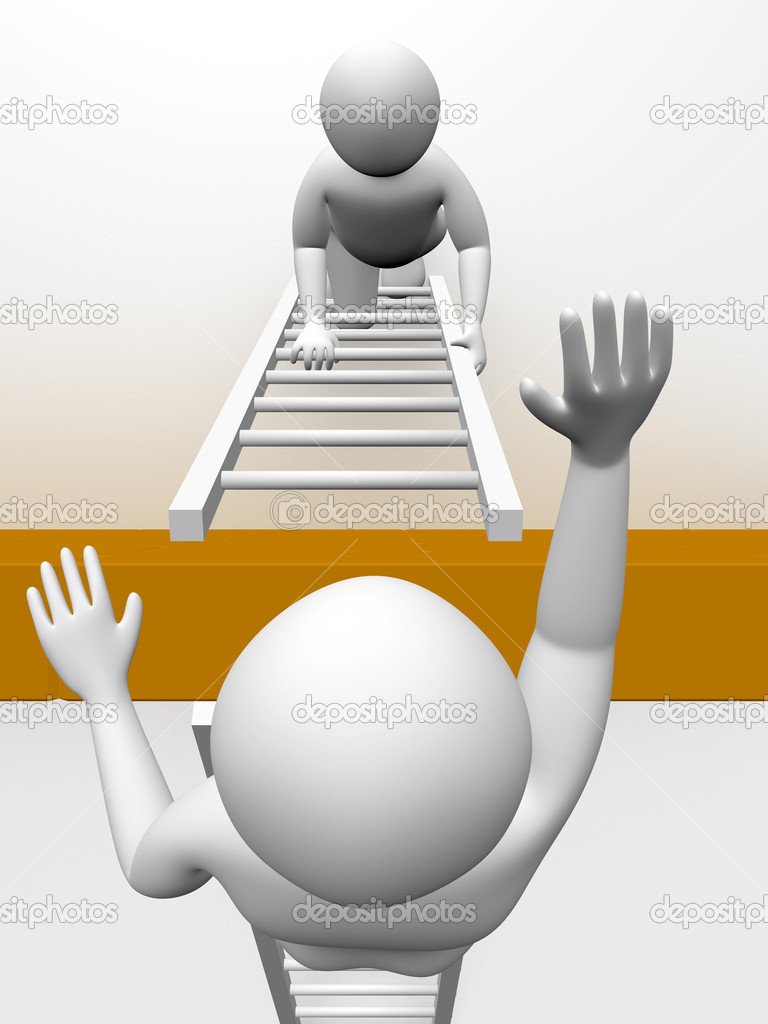 Two men are climbing the wall with ladders. Concept of effort — Stockfoto #6425516