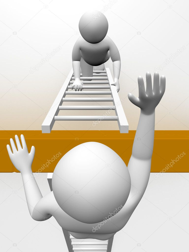 Two men are climbing the wall with ladders. Concept of effort  Foto Stock #6425516