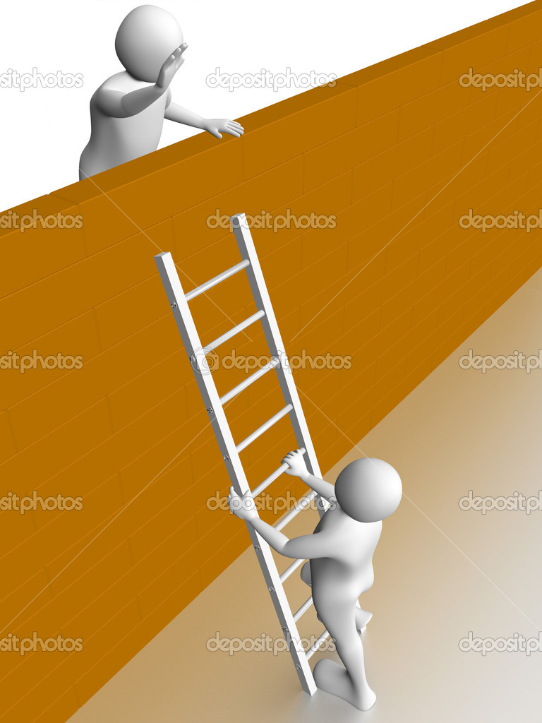 A man is climbing the wall with a ladder. Concept of success — Stock Photo #6425698