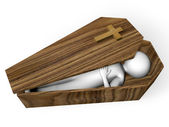 Corpse in a coffin — Stock Photo
