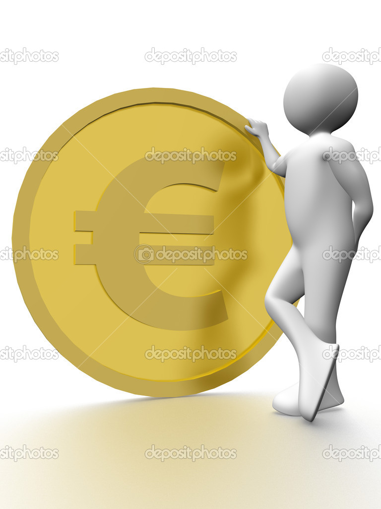 Illustration of a man with a big euro coin — Stock Photo #6433053
