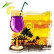 Cocktail in glass on summer background — Stock Vector