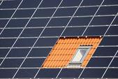 Window between solar cells — Stock Photo