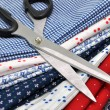 Scissors on Textile - Stock Photo
