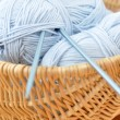 Royalty-Free Stock Photo: Knitting Needles and Blue Wool