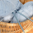 Knitting Needles and Blue Wool — Stock Photo