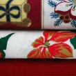 Fabrics with Christmas Patterns — Stock Photo