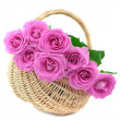 Pink Roses in a Wicker Basket — Stock Photo