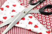 Scissors on Textile — Stock Photo