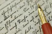 Fountain Pen on Old Diary — Stock Photo