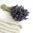 Lavender Bouquet on White Towels — Stock Photo