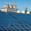 Stock Photo: Solar power station and factory