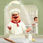 cocinero divertido haciendo pizza — Foto de Stock