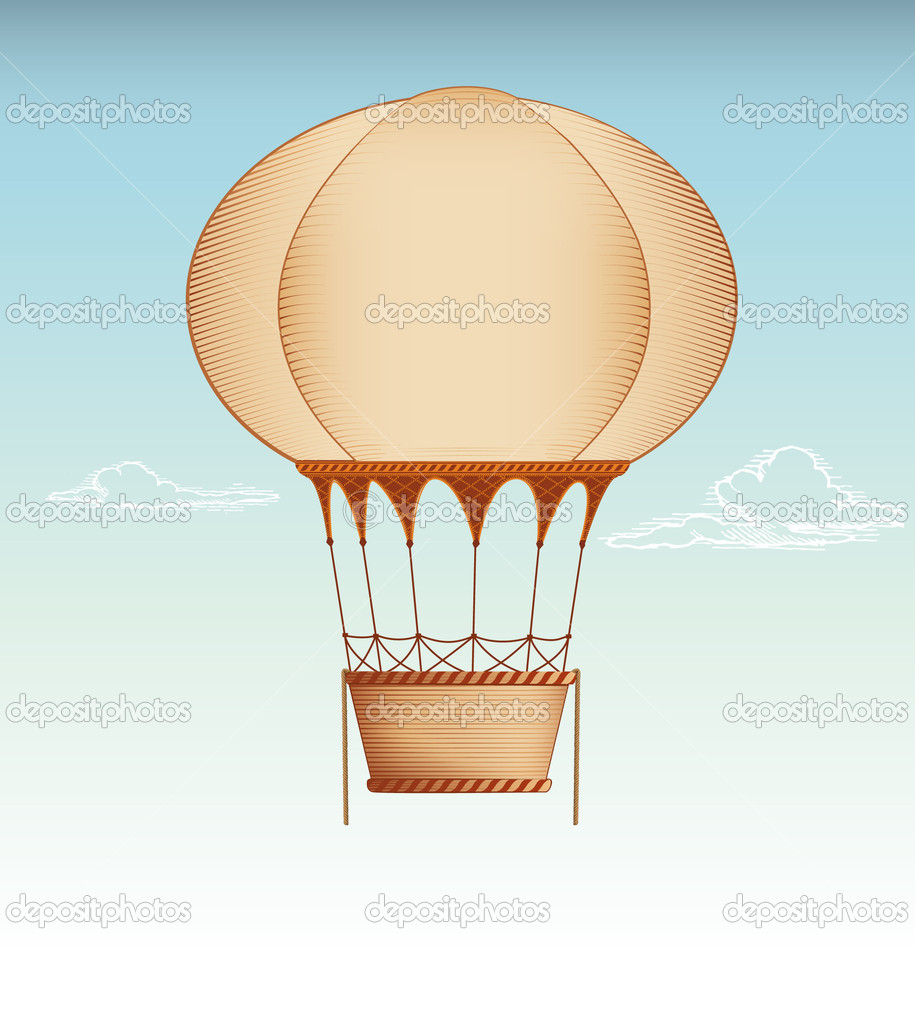 Hot Air Balloon Vintage vector illustration  — Stock Vector #6394175