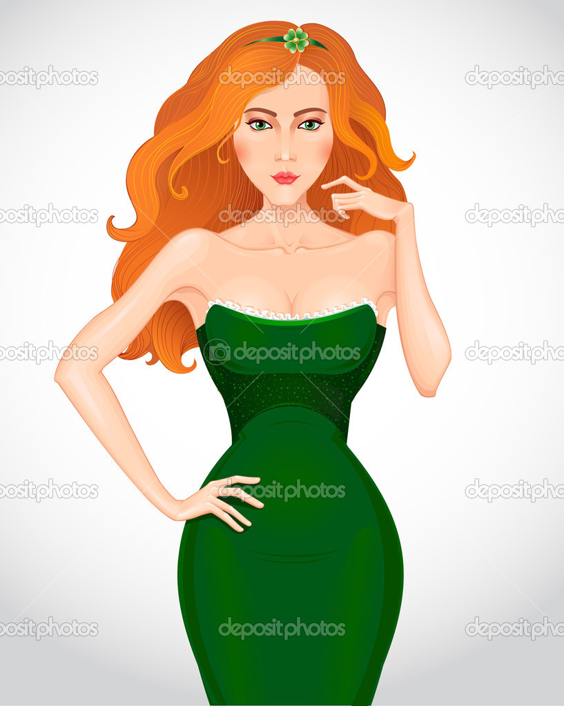 Рыжая девушка в зеленом платье 6 фотография