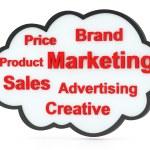 discours bulle ou tag cloud avec mots de marketing — Photo