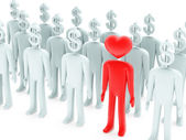 Peoples with dollar-shaped and heart-shaped heads — Stock Photo