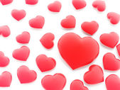 Beautiful red hearts on white — Stock Photo