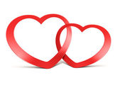 Two joined red hearts on white — Stock Photo