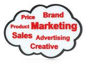 Kelimeler pazarlama ile konuşma balonu veya etiket bulutu — Stok fotoğraf